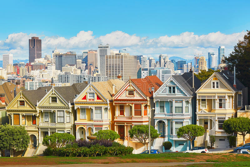 Dames peintes, San Francisco, la Californie, Etats-Unis photos libres de droits