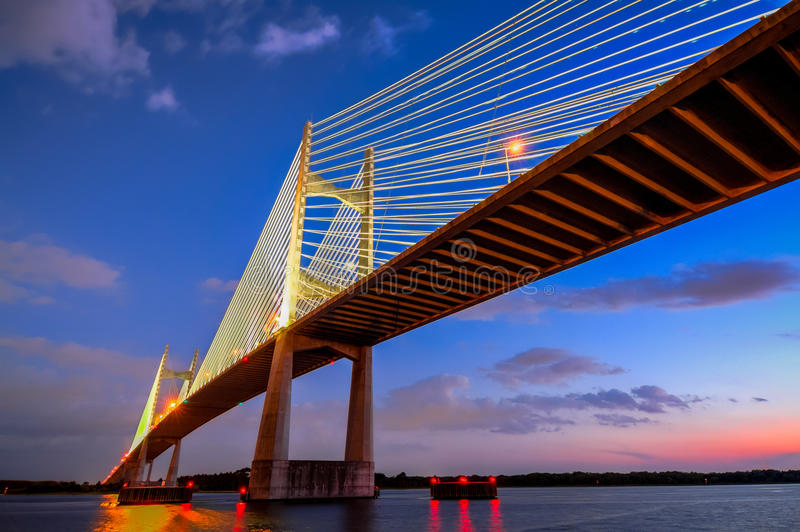 Dames Point Sunset. Sunset overlooking the Dames Point Bridge in Jacksonville Florida stock image
