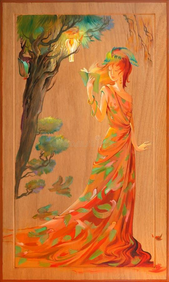 Dames` roman Portret van mooie vrouwen die het boek in het fantasiemilieu lezen Olieverfschilderij op hout vector illustratie