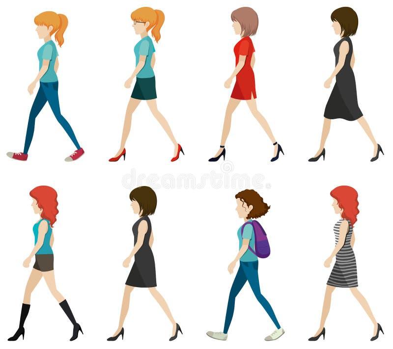 Dames sans visage marchant dans une direction illustration de vecteur