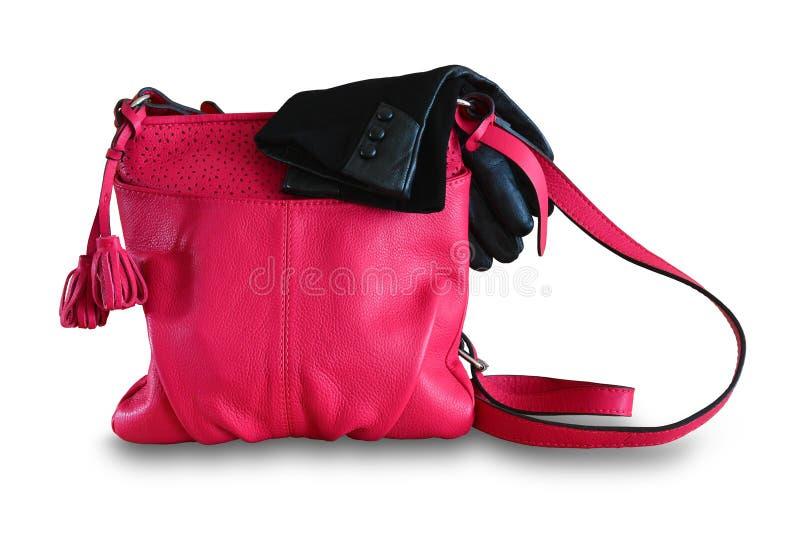 dameshandtas en handschoenen Het leerzak van de vrouwen` s zomer van fuchsin royalty-vrije stock foto's