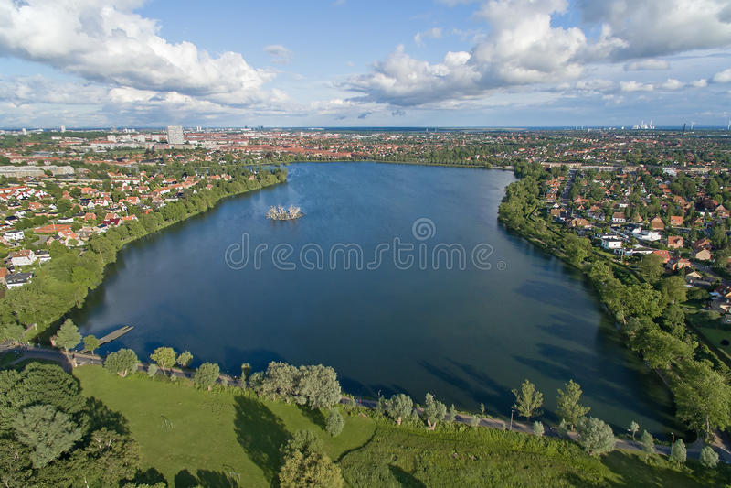 Damhus湖,丹麦鸟瞰图  库存照片