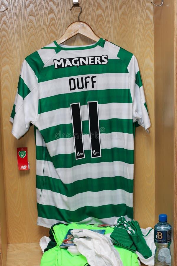 Damien Duff Jersey klaar voor de Liam Miller Tribute-gelijke stock foto