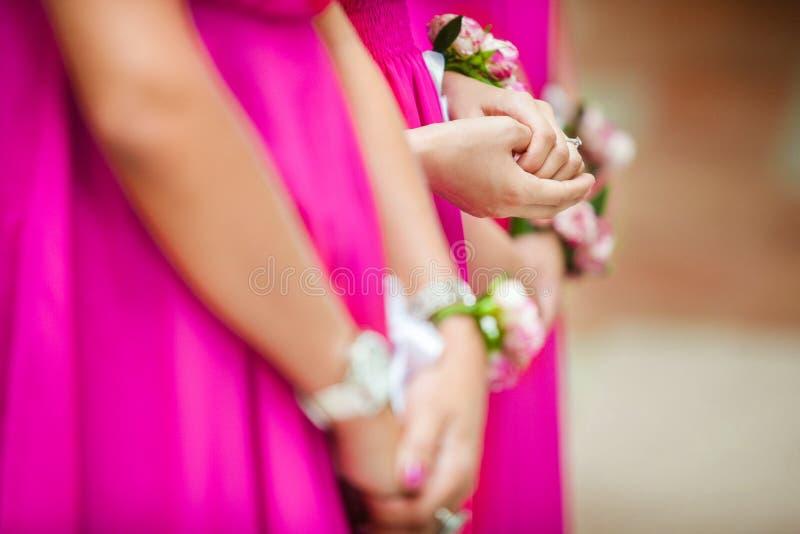 Damigelle d'onore in vestiti rosa luminosi che stanno nella fila fotografia stock