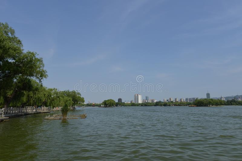 Daming Lake em Jinan fotografia de stock