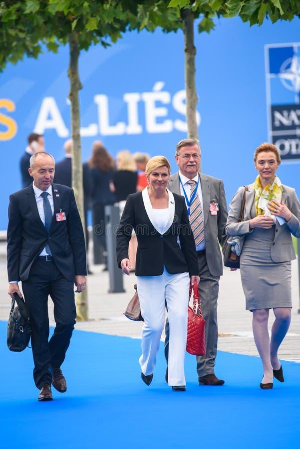 Damir Krsticevic,国防部长克罗地亚, Kolinda Grabar Kitarovic,克罗地亚和Marija Pejcinovic Buric的总统的 库存图片