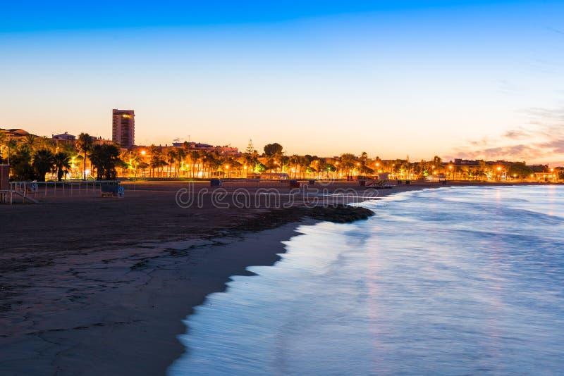 Damm bei Sonnenuntergang, Cambrils, Catalunya, Spanien Kopieren Sie Raum für Text stockfotografie