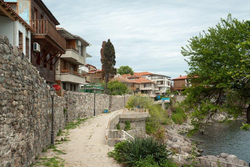 Damm des alten Teils des Bulgaren Sozopol stockfoto