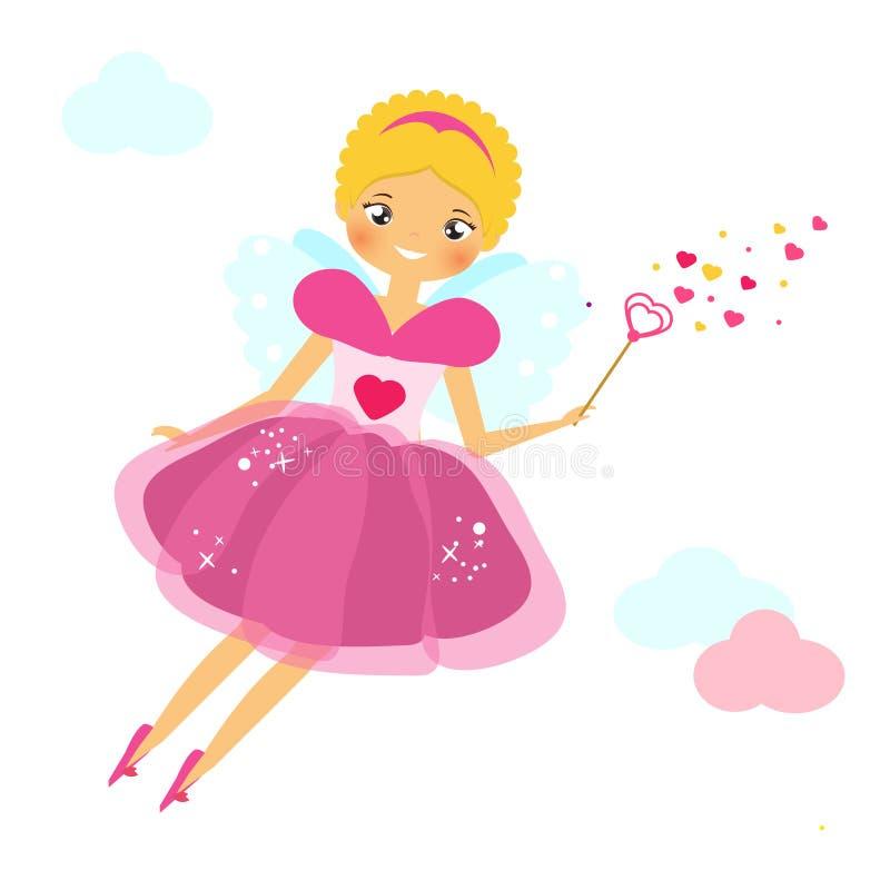 Damm för förälskelse för den härliga kupidonflickan klär påskyndat fördelande flyga fen i rosa färger slåendetrollstaven Valentin stock illustrationer