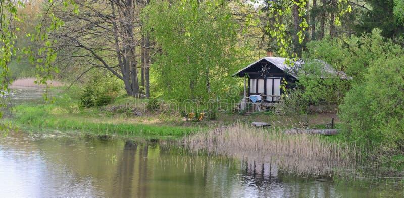 Damm i bygden, Kaclezsky damm av s?dra Bohemia royaltyfri bild