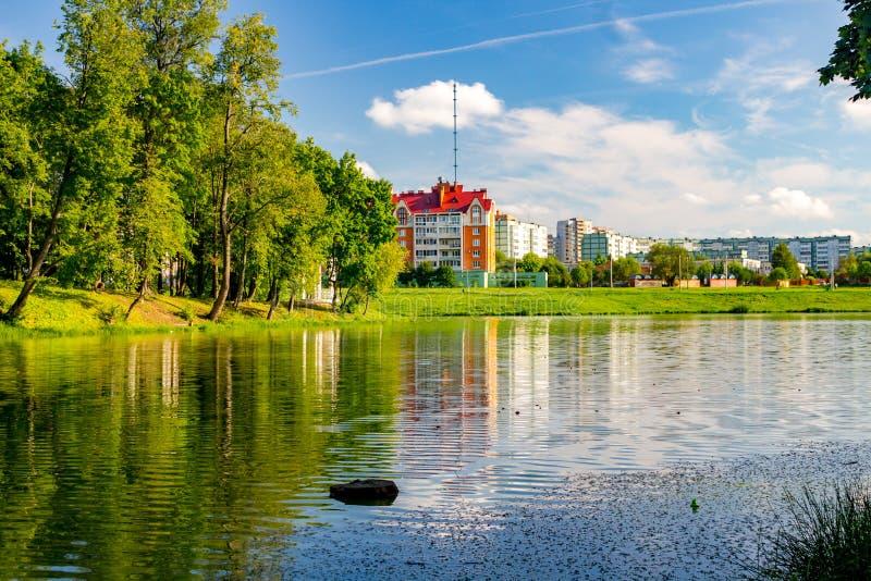 Damm i parkera-säterier Belkino i sommaren arkivbilder