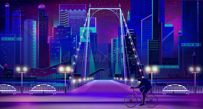 Damm-Vektorhintergrund der modernen Stadt naher stock abbildung