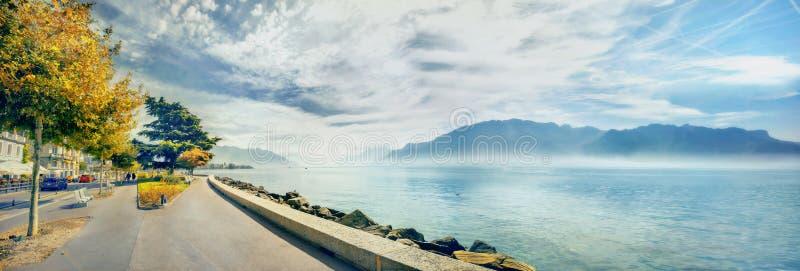 Damm von Geneva See in Vevey-Stadt Vaud Bezirk, die Schweiz stockfoto