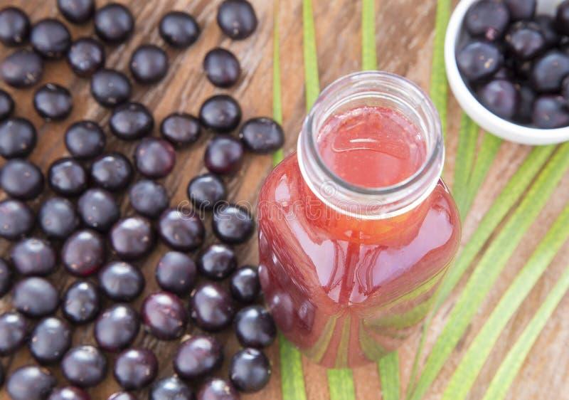 Damma av, frukt och fruktsaft av acaiEuterpeoleraceaen royaltyfri bild