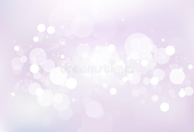 Dammar av magiska stjärnor för purpurfärgad bubblaluft ljust skinande blinka blänker royaltyfri illustrationer