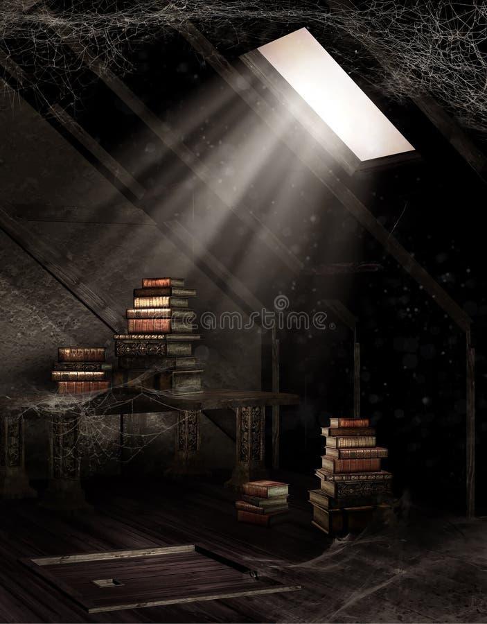 Dammig loft med böcker stock illustrationer