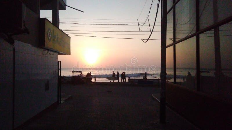 Dammig solnedgång fotografering för bildbyråer