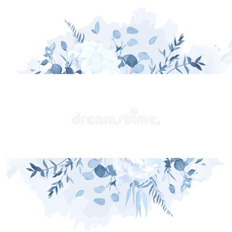 Dammiga blåa filialer, vit vanlig hortensia, ram för design för vattenfärgfärgstänkvektor stock illustrationer