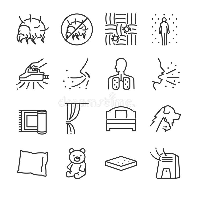 Dammkvalsterlinje symbolsuppsättning Inklusive symbolerna som dammkvalsterar, loppa, vägglöss, sovrum, säng, felmördare och mer royaltyfri illustrationer