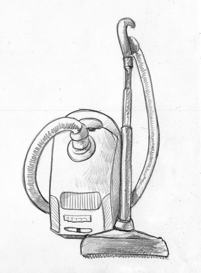 Dammsugare - blyertspennan skissar vektor illustrationer