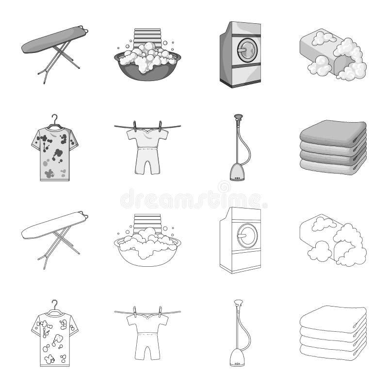 Dammsugare en bunt av torkduken, smutsar ner och ren saker Fastställda samlingssymboler för kemtvätt i översikten, monokrom stil vektor illustrationer