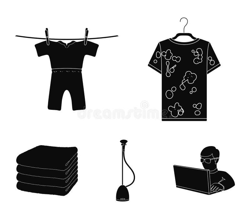 Dammsugare en bunt av torkduken, smutsar ner och ren saker Fastställda samlingssymboler för kemtvätt i svart stilvektorsymbol royaltyfri illustrationer