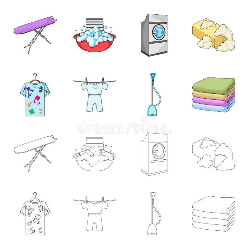 Dammsugare en bunt av torkduken, smutsar ner och ren saker Fastställda samlingssymboler för kemtvätt i tecknade filmen, översikts stock illustrationer