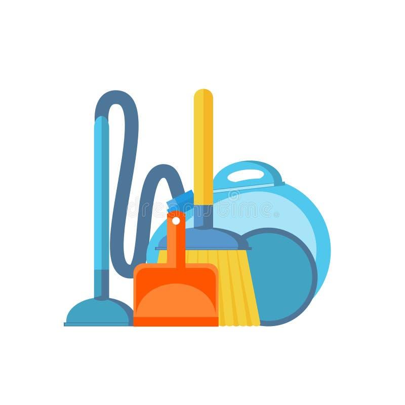 Dammsugare, skopa och kvast som isoleras på vit bakgrund cleaning stock illustrationer