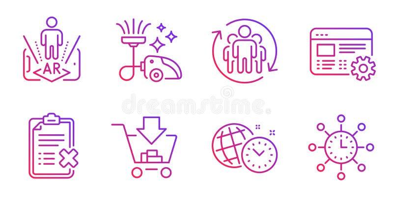 Dammsugare, teamwork och ökad verklighetsymbolsuppsättning Utskottsvarakontrollista, shopping- och Tid ledningtecken vektor stock illustrationer