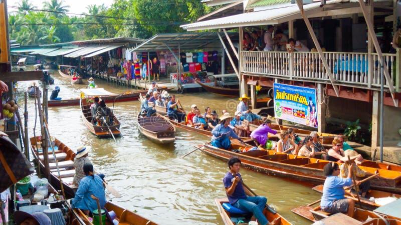 Dumnoen saduak floting market royalty free stock photos
