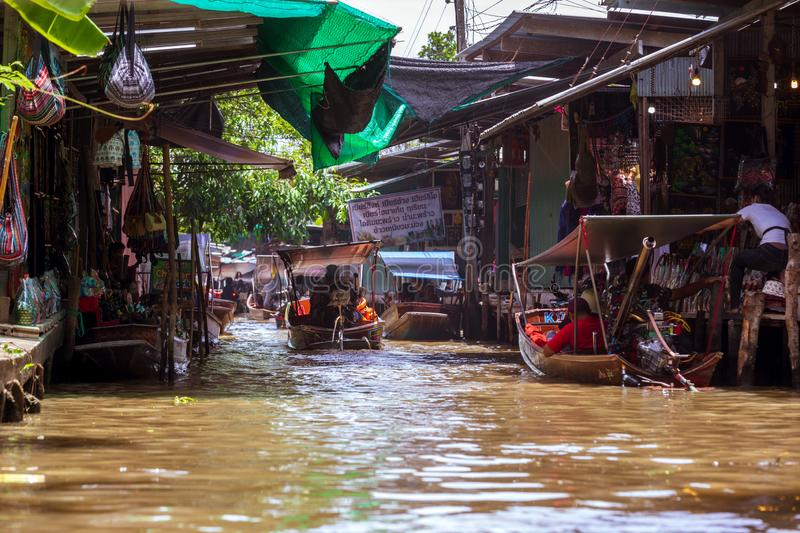 Damnoen Saduak Floating Market, tourist attraction.  Thailand. Damnoen Saduak / Thailand - July 23, 2019: Floating Market, tourist attraction, attracting stock photos