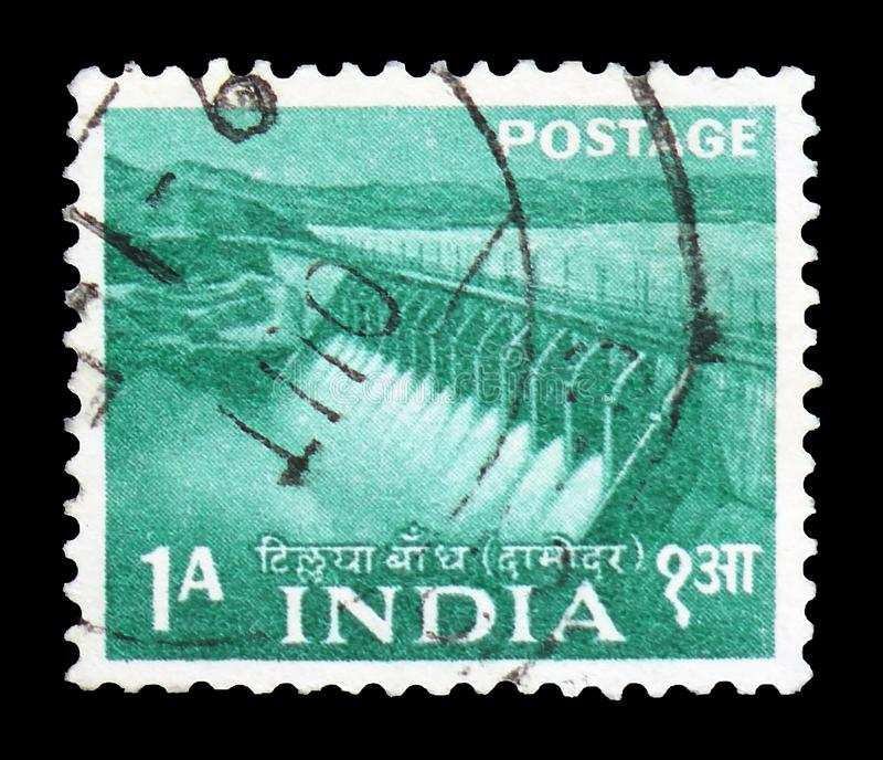 Damodar valley Dam, Five Year Plan - 1st Issue 1955-58 serie, circa 1955. MOSCOW, RUSSIA - FEBRUARY 22, 2019: A stamp printed in India shows Damodar valley Dam stock photography