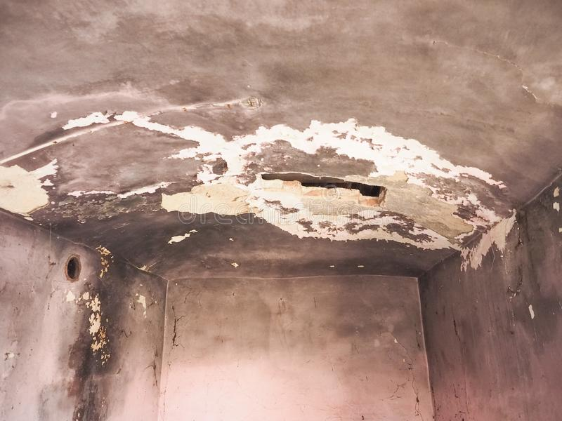 damp moisture on wall and ceiling stock photos