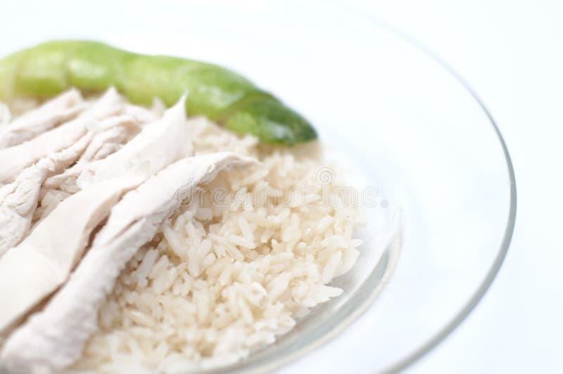 Dampf-Huhn über Reis stockfotografie