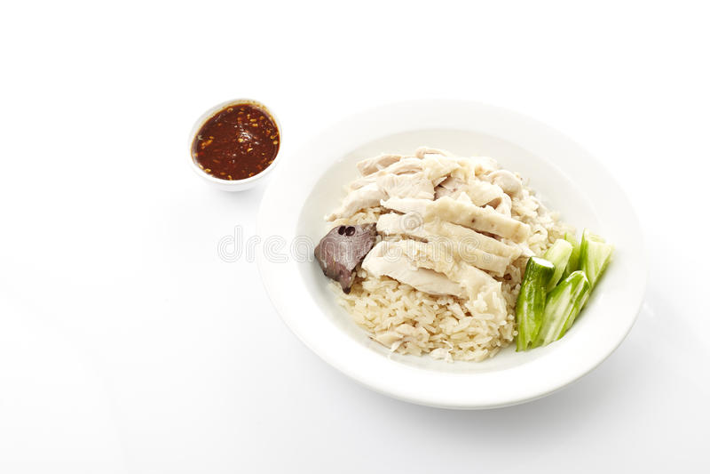 Dampf-Huhn mit Reis stockfoto