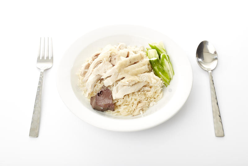Dampf-Huhn mit Reis lizenzfreies stockfoto