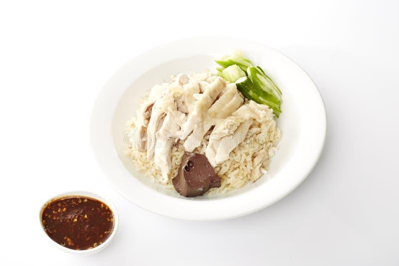 Dampf-Huhn mit Reis stockfotografie