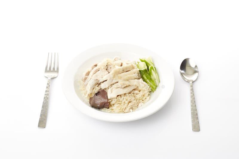 Dampf-Huhn mit Reis stockbild