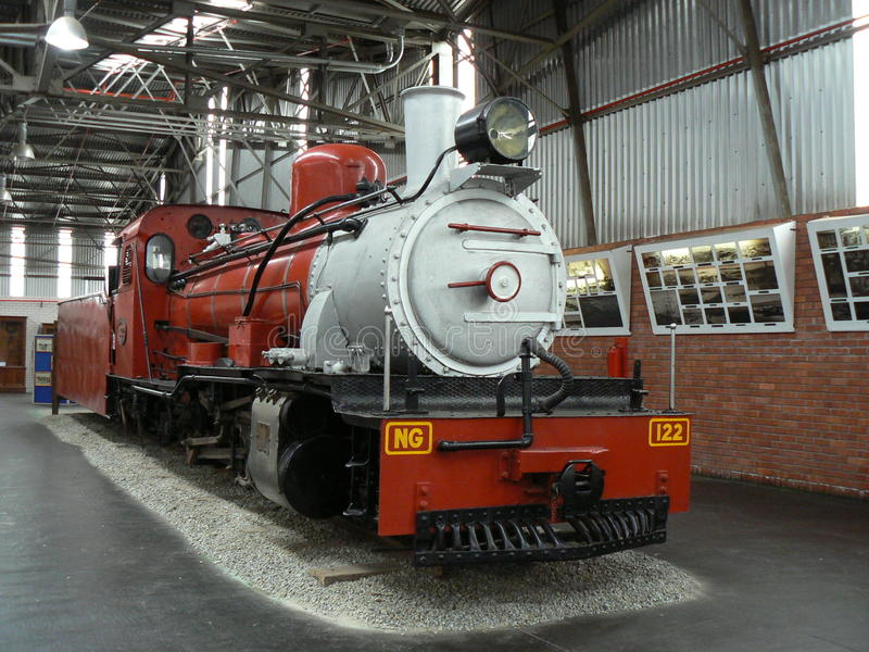 DAMPF-LOKOMOTIVE, OUTENIQUA-TRANSPORT-MUSEUM, GEORGE, SÜDAFRIKA lizenzfreies stockbild