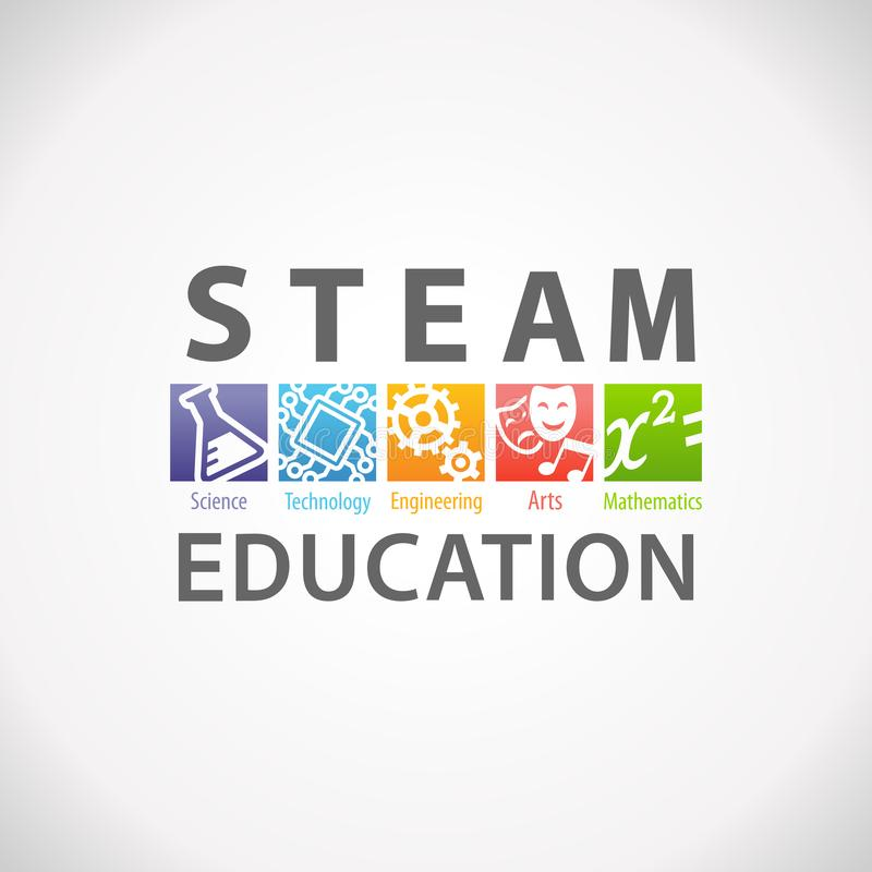 DAMPF-STAMM Bildungs-Logo Wissenschafts-Technologie-Technik-Kunst-Mathematik stock abbildung