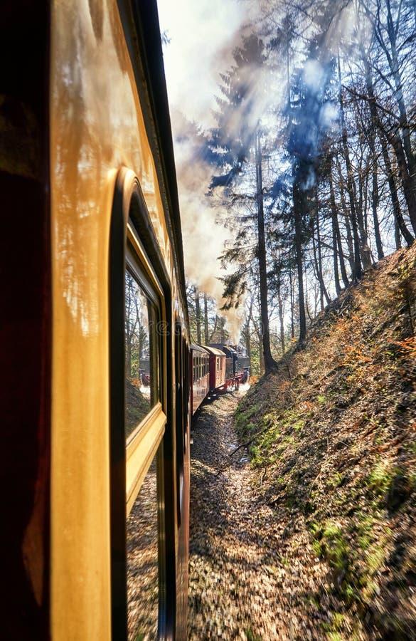 Dampflokomotive mit Sonnenstrahlen Dynamik durch Bewegungsunschärfe lizenzfreie stockbilder