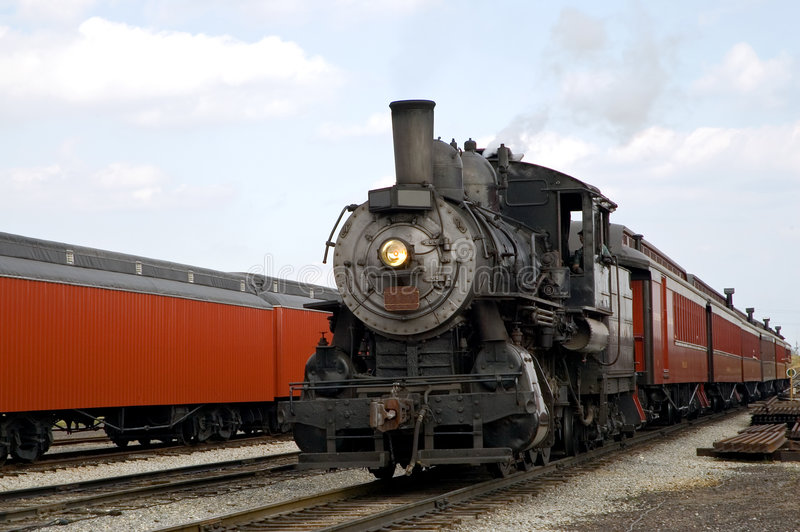 Dampflokomotive und -serie stockfotos