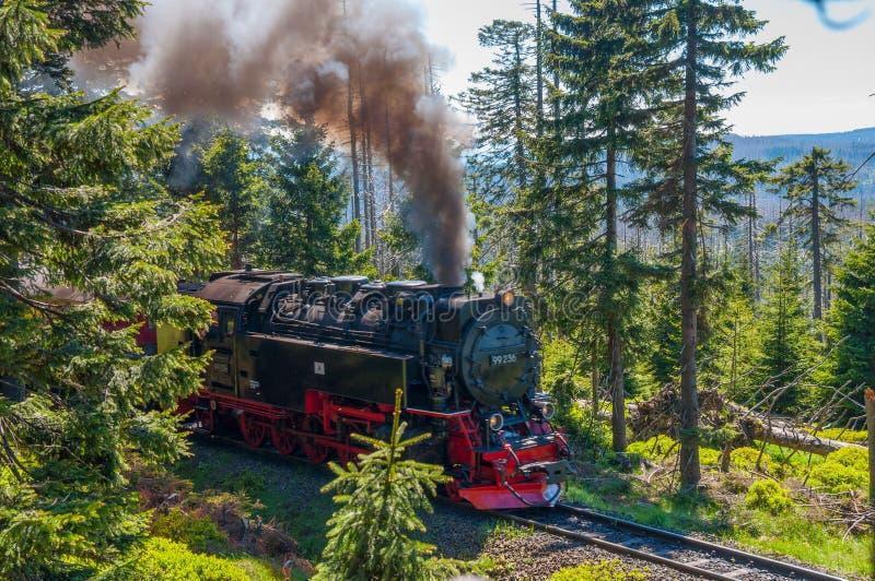 Dampflokomotive, welche oben die Hügel von Brocken-Berg antreibt stockfotos