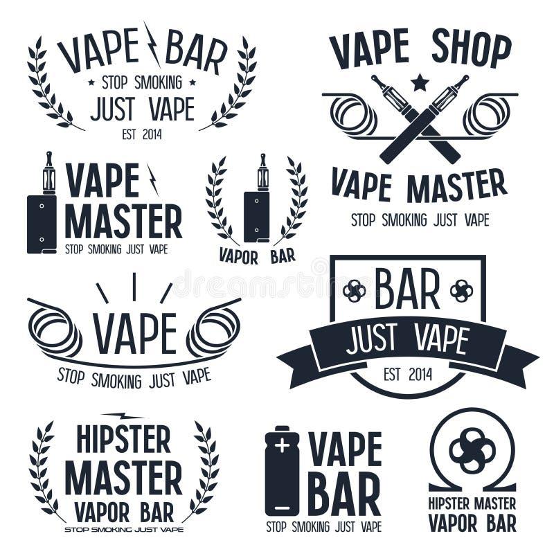 Dampfstange und Vape-Shoplogo stockfoto