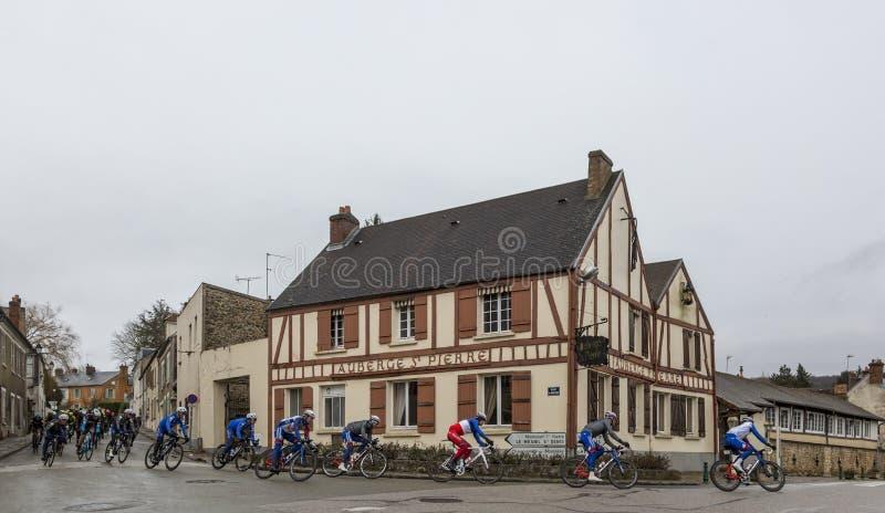 The Peloton - Paris-Nice 2018 royalty free stock photography