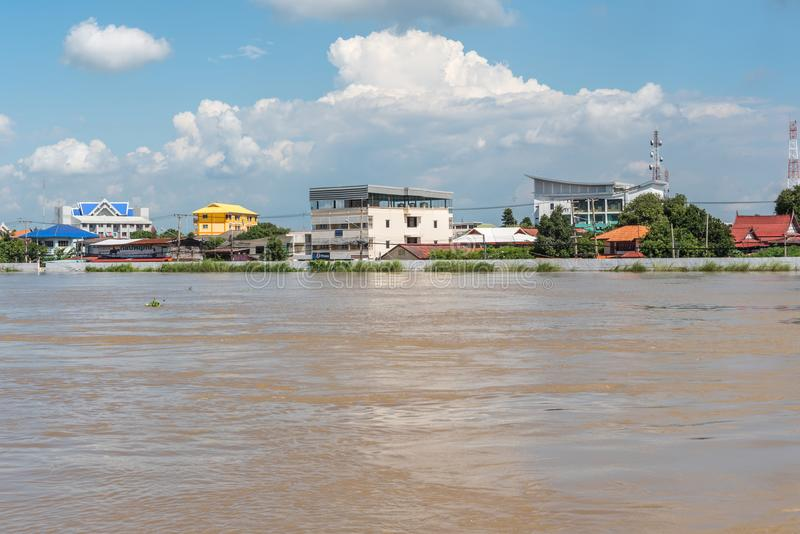 Dams from sand bags prevent flooding from river. Ang Thong, Thailand - October 21, 2017 : Dams created from sand bags. To prevent flooding caused by heavy rain stock images