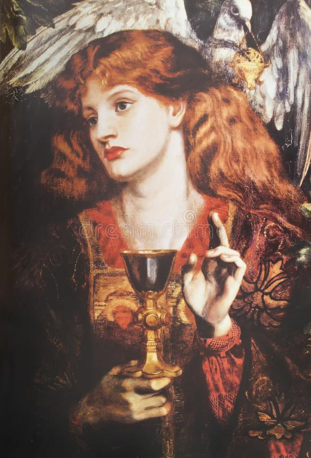 Damsel of the Sanct Grael. The Damsel of the Sanct Grael or Holy Grail by Dante Gabriel Rossetti, 1874. Private collection stock photos