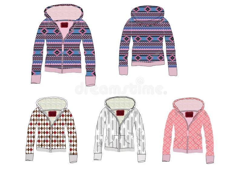 Damy Jacquard przodu zamka błyskawicznego pulower wśrodku Sherpa tkaniny projekta ilustracja wektor