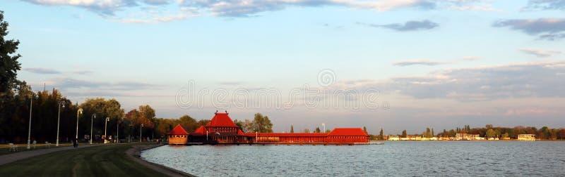 Damy Kąpać się Zenski pasemko na jeziornym Palic, Serbia zdjęcie royalty free