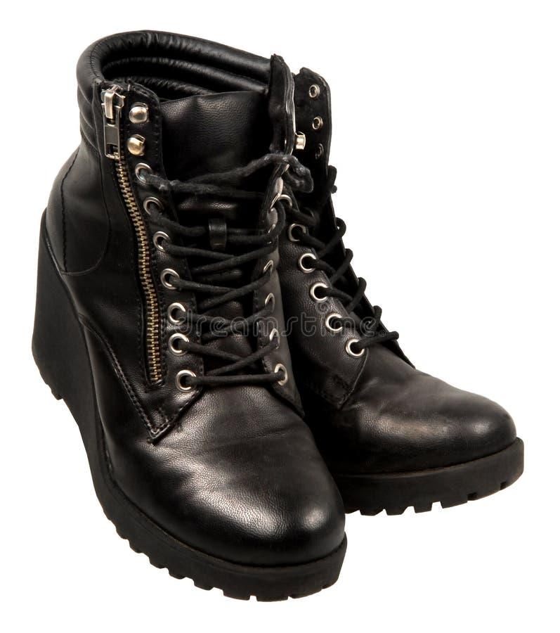 Damy kostki czarni buty zdjęcia stock